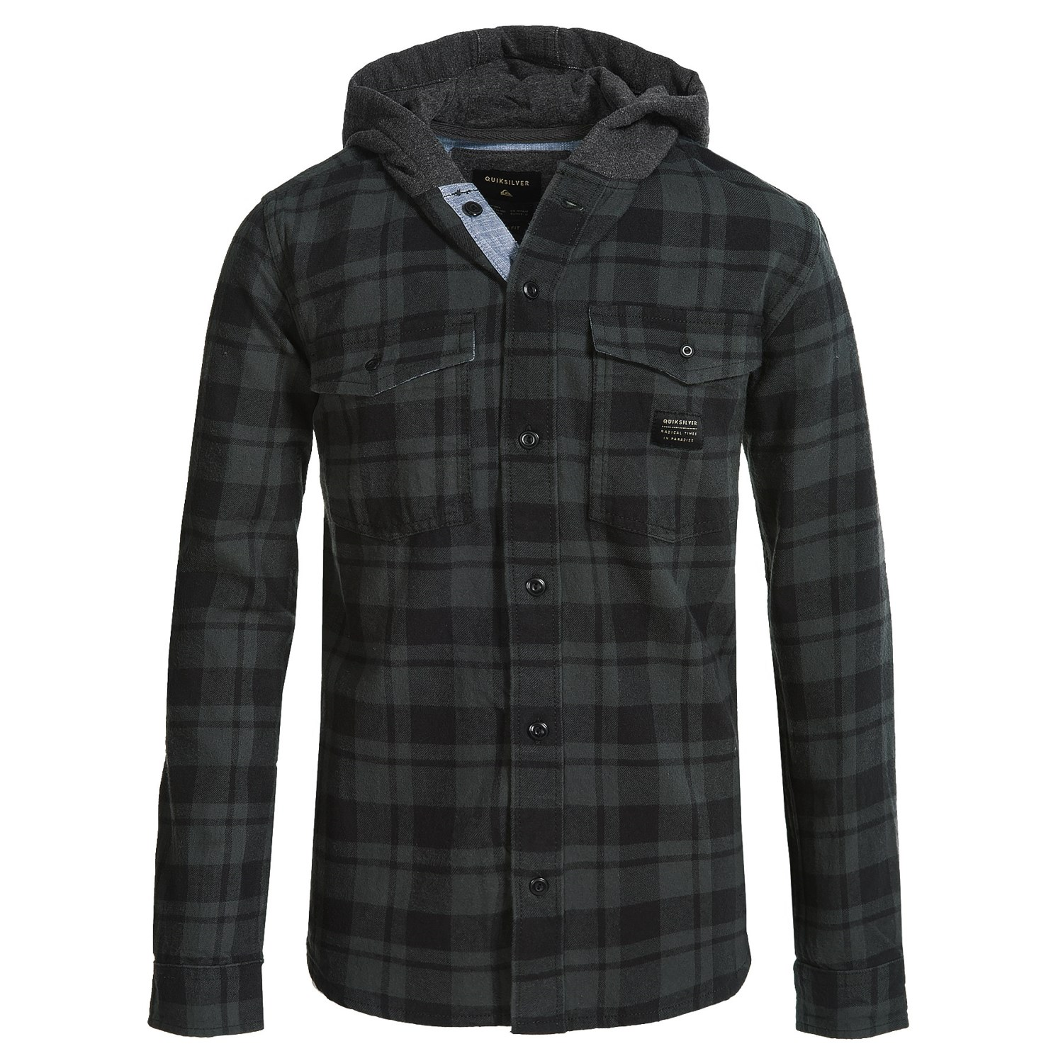Quiksilver hooded flannel shirt for big boys 173vn for Boys long sleeve shirt with hood