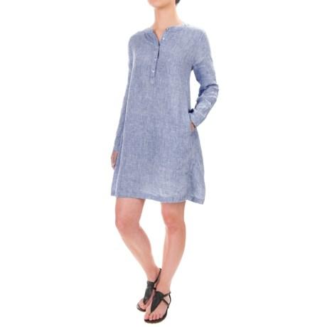 Kenar Cross-Dye Mandarin Collar Dress - Linen, Long Sleeve (For Women)