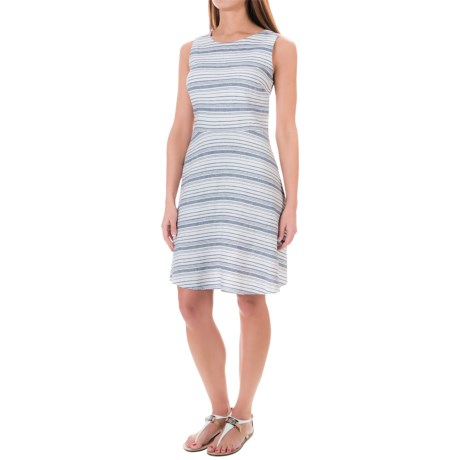 St. Tropez West Linen Yarn-Dyed Fit and Flare Dress - Scoop Neck, Sleeveless (For Women)