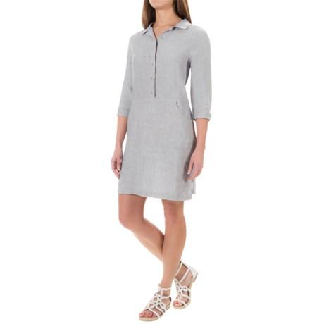 Kenar Linen Cross-Dye Shirt Dress - 3/4 Sleeve (For Women)