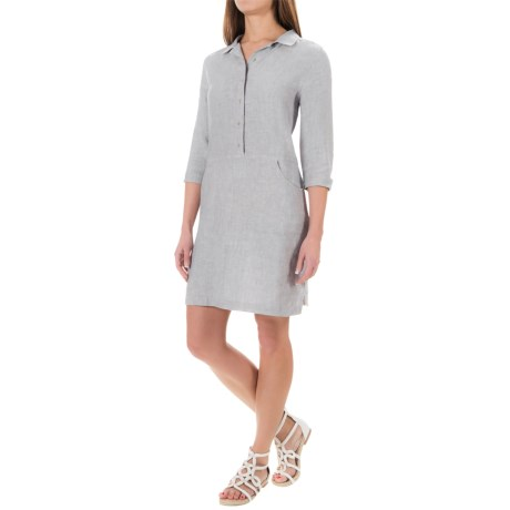 Kenar Linen Cross-Dye Shirt Dress - 3/4 Sleeve (For Women)