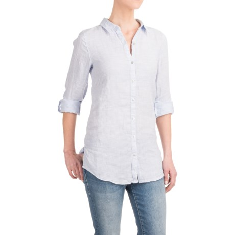 St Tropez West St. Tropez West Yarn-Dyed Linen Striped Shirt - Long Sleeve (For Women)