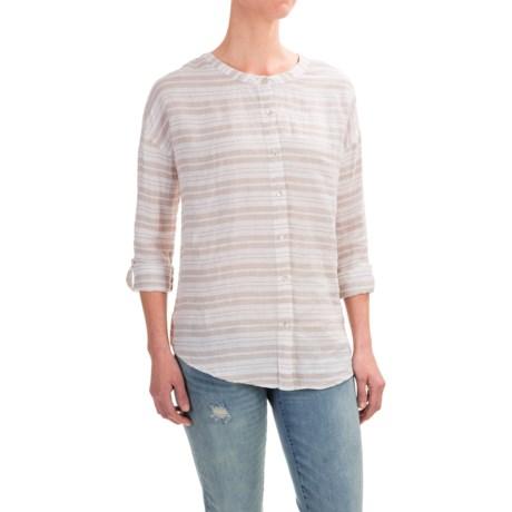 St. Tropez West Striped Linen Shirt - Roll-Tab Long Sleeve (For Women)