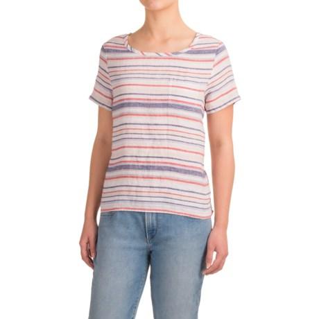 Artisan NY Linen Stripe T-Shirt - Crew Neck, Short Sleeve (For Women)