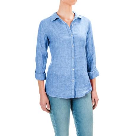 Jones New York Cross-Dye Linen Shirt - Roll-Up Long Sleeve (For Women)