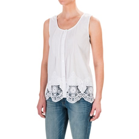 St Tropez West St. Tropez West Gauzy Lace-Trimmed Tank Top (For Women)