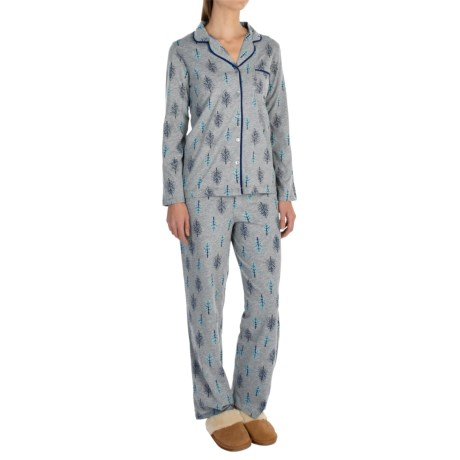 Company Ellen Tracy Classic Peached-Jersey Pajamas - Long Sleeve (For Women)