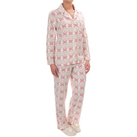 Company Ellen Tracy Classic Microfleece Pajamas - Long Sleeve (For Women)