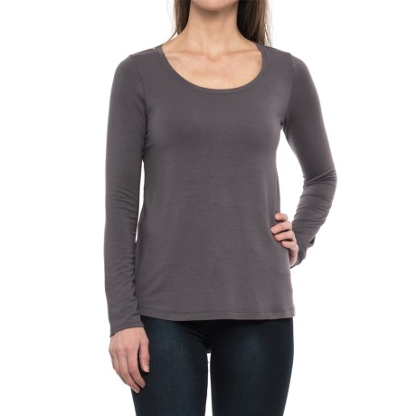 Paraphrase Stretch Modal High-Low Shirt - Long Sleeve (For Women)