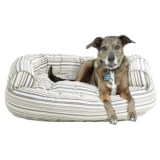 """Humane Society Scarf Stripe Canvas Round Bolster Dog Bed - Extra Large, 48x36"""""""