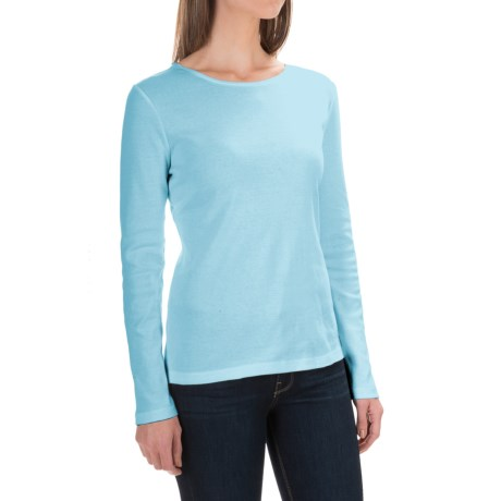 Solid Knit Cotton Shirt - Long Sleeve (For Women)