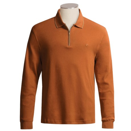 Pierre Cardin Cotton Interlock Polo Shirt - ¼ -Zip, Long Sleeve (For Men)
