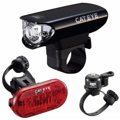 CatEye Gotham Front and Rear LED Bike Light Set with Bell