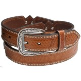Ariat Ostrich-Inlay Concho Leather Belt (For Men)