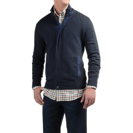 Viyella Mock Neck Cardigan Sweater - Zip Front (For Men)
