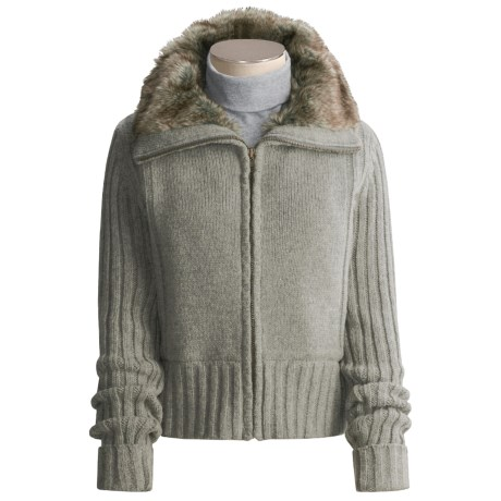 Reilly Olmes Sweater Jacket - Lambswool, Faux-Fur Lined (For Women)