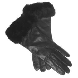 Cire by Grandoe Napoli Gloves - Sheepskin, Rabbit Fur Cuffs (For Women)