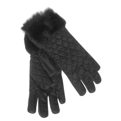 Grandoe Cire Bellisima Gloves - Quilted, Rabbit Fur Cuffs (For Women)