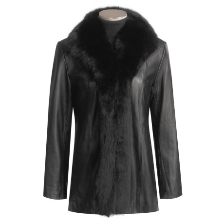 Marvin Richards Leather Coat with Genuine Blue Fox Trim (For Women)