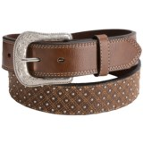 G Bar D Diamond Top-Stitch Leather Belt (For Men)