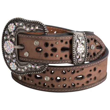 Dan Post Rhinestone Cutout Leather Belt (For Women)