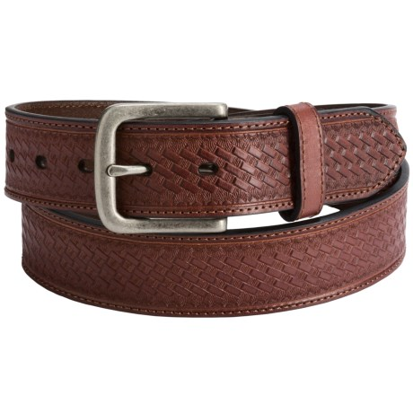 Dan Post Embossed Basket-Weave Leather Belt (For Men)