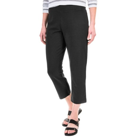 Specially made Solid Cotton-Blend Crop Pants (For Women)