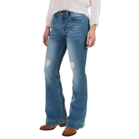 Petrol Slightly Destroyed Classic Flare Jeans - Bootcut (For Women)