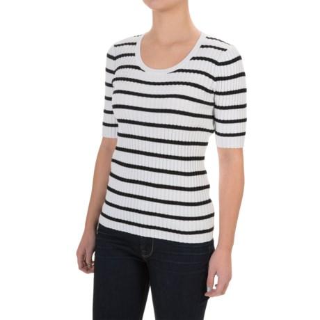 Jeanne Pierre Ribbed Striped Sweater - Elbow Sleeve (For Women)