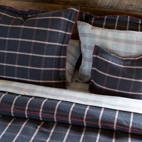 Bambeco Oxford Windowpane Flannel Duvet Cover - King, Organic Cotton