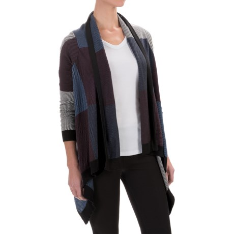 Foxcroft Color-Block Open Cardigan Sweater (For Women)