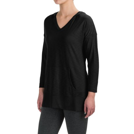 Harmony and Balance Hooded Tunic Shirt - Ribbed Trim, Long Sleeve (For Women)