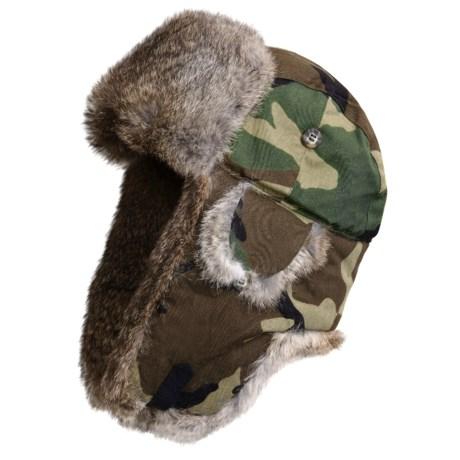 Mad Bomber Nylon Camo Winter Hat - Rabbit Fur (For Men and Women)