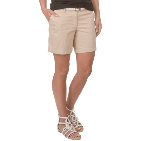 Cambridge Dry Goods Belted Cotton Sateen Shorts (For Women)