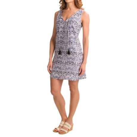 St. Tropez West Printed Shift Dress - Linen, Sleeveless (For Women)