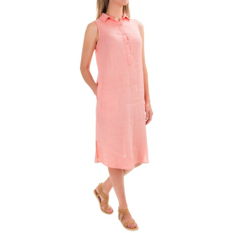 Artisan NY Dyed Linen Henley Dress - Sleeveless (For Women)
