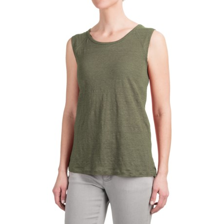 Kenar Linen Muscle Shirt with Shoulder Yokes - Sleeveless (For Women)