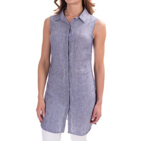 St. Tropez West Long Linen Shirt - Sleeveless (For Women)