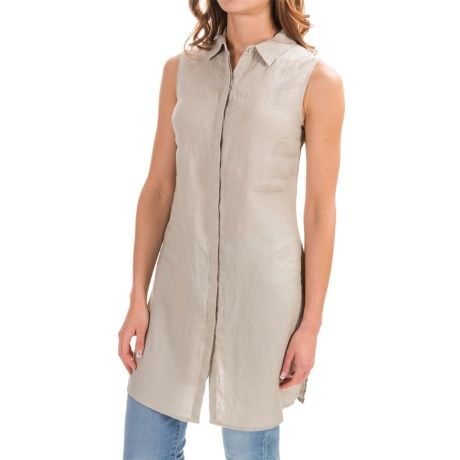 Antibes Blanc Linen Shirt - Sleeveless (For Women)