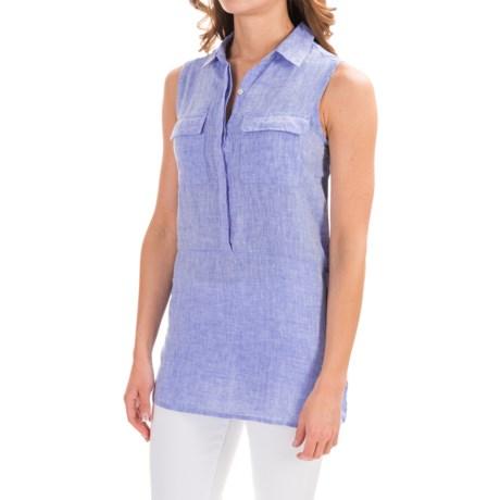 Jones New York Jones & Co Cross-Dye Linen Shirt - Sleeveless (For Women)