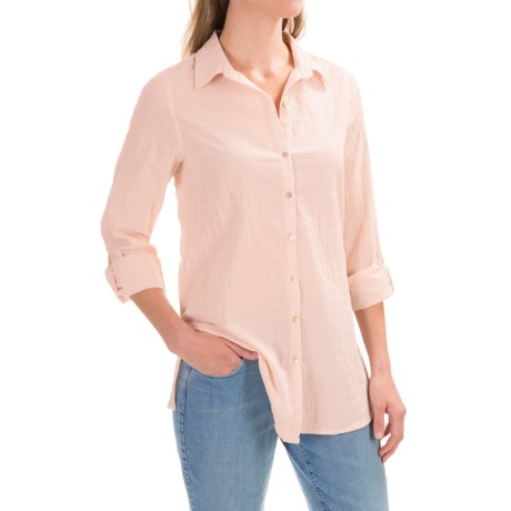 Cynthia Rowley Crinkle Button-Down Shirt - Roll-Up Long Sleeve (For Women)