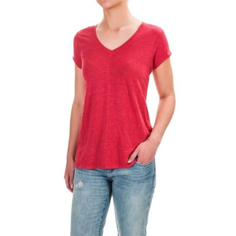 St. Tropez West Linen V-Neck Shirt - Short Sleeve (For Women)