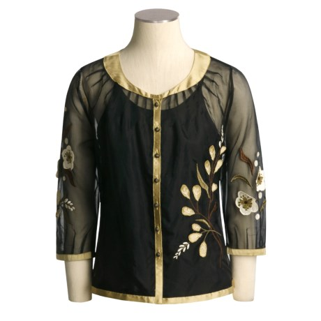 CoVelo Applique Sheer Silk Cardigan Sweater - 3/4 Sleeve (For Women)