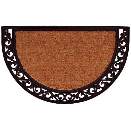 "Home and More Half Moon Doormat - 18x30"", Coir and Rubber, Scroll Trim"