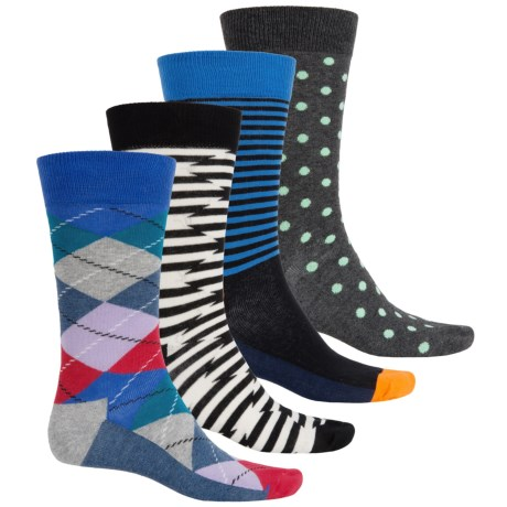 Happy Socks Combed Cotton Socks - 4-Pack, Crew (For Men)