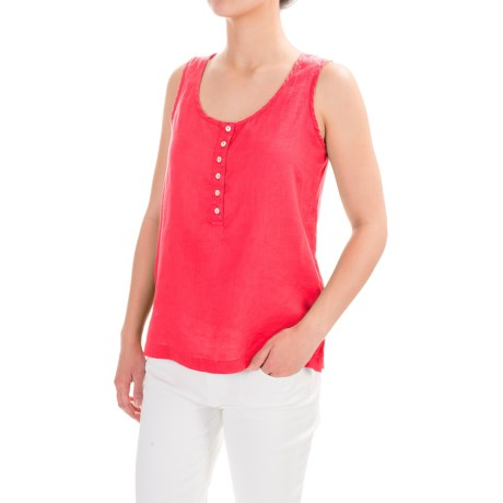 Jones New York Jones & Co Linen Henley Tank Top (For Women)