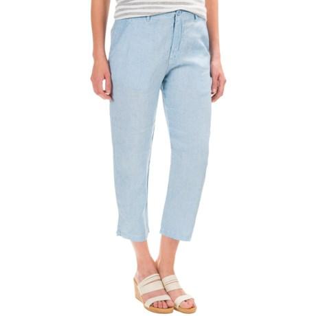 British Khaki Linen Slim Capris (For Women)