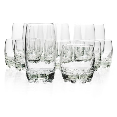 Bormioli Rocco Glassia Beverage and Rocks Glasses - 16-Piece Set