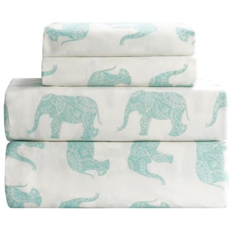 Melange Home Elephant Print Sheet Set - King, 400 TC Cotton Sateen