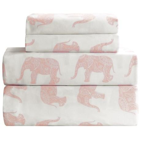 Melange Home Elephant Print Sheet Set - King, 400 TC Cotton Sateen